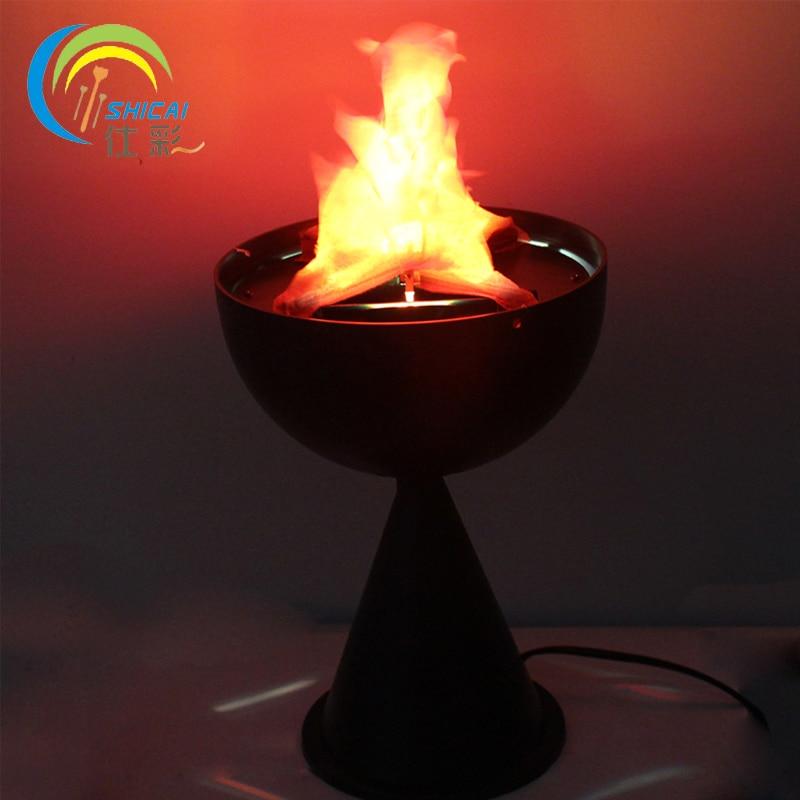 Gratis Verzending Tafel Top Vlam Licht Halloween Decoratie Voor Party Bar Koperslager Lamp Kunstmatige Vlam Fake Fire Glanzend Oppervlak