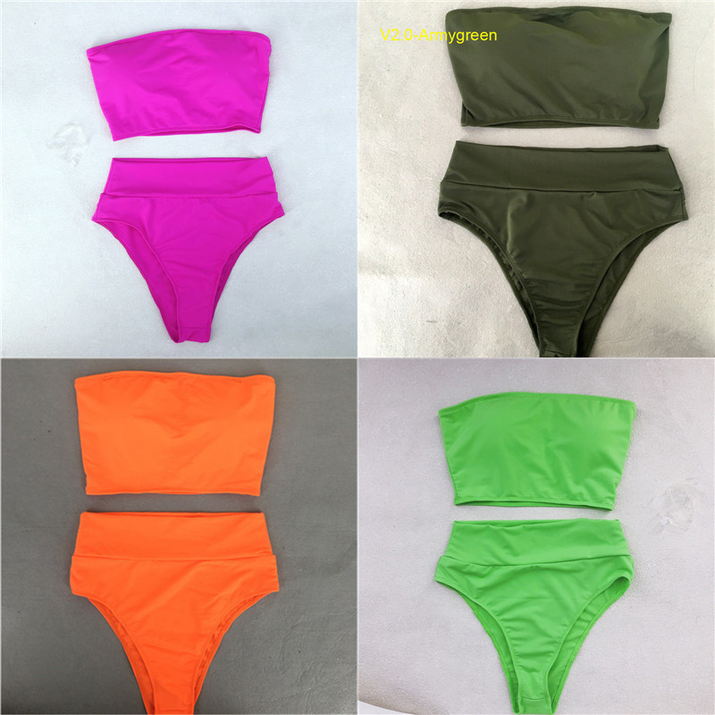 High Waist Swimsuit 2018 Sexy Bikini Women Brazilian Pad Swimwear Push Up Bandeau Top Plus Size Bottom Bikini Set Bathing Suits