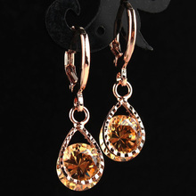 Hot Zircon Water Drop Earrings For Women Fashion Party Vintage Crystal Female Earrings Wedding Jewelry Gift pair of vintage faux gem water drop jewelry earrings for women