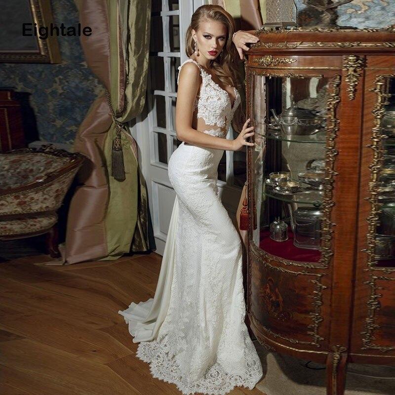 Eightale Boho Wedding Dress 2019 V Neck Lace Mermaid Bride Dress Sexy Vintage Wedding Gowns vestidos de novia Free Shipping