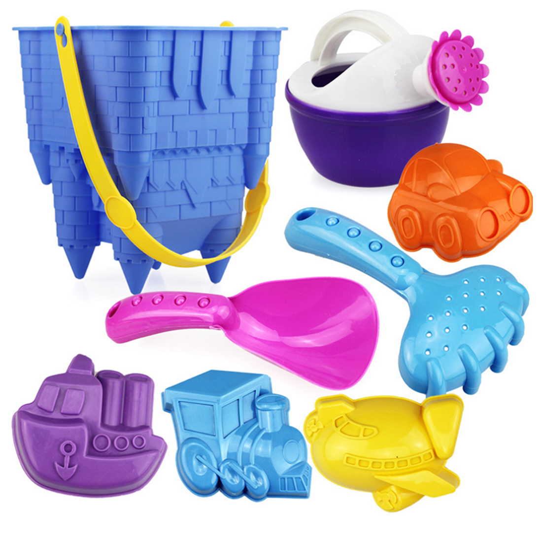 8Pcs Beach Toy Set Castle Bucket Shovel Children Safety Plastic Fancy Toys Gifts For Children Kids- Color Random