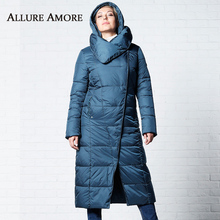 Winter Jackets Women New Women's Parka Female Long Jacket Removable hooded Woman Coat Puffer Stand-up Collar Coats AllureAmore