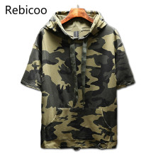 2018 Summer Short sleeve Hoodies men printing thin Sweatshirt male fashion cotton pullover brand clothing