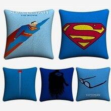 Superman Minimalist Figure Artwork Decorative Cotton Linen Cushion Cover 45x45cm For Sofa Chair Pillow Case Home Decor Almofada