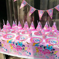 My Little Pony Theme Design 152Pcs/Lot Kid Birthday Party Cups Plates Mask Invitation Card Wedding Horn Blowout Banner Supply