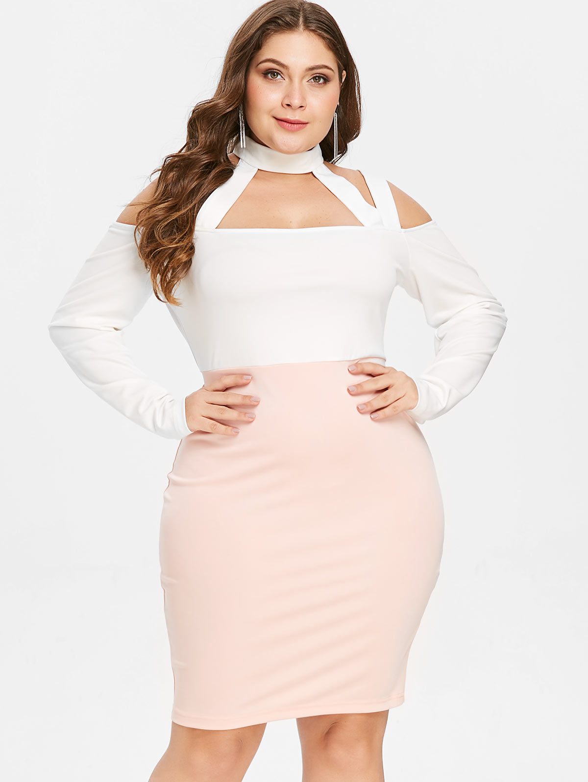 Wipalo Color Block Plus Size Cut Out Cold Shoulder Bodycon