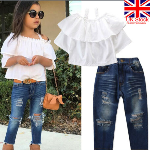 e09b21dda479 2019 Toddler 2Pcs Clothes Set Kid Baby Girl Off Shoulder White T-shirt Top+Denim  Ripped Jean Long Pant Children Casual Outfit