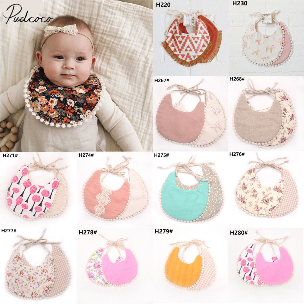2019 Brand New Infant Baby Girl Boy Bib Kid Toddler Dinner Feeding Tassel Double-deck 100% Cotton Linen Burp Cloths Saliva towel(China)