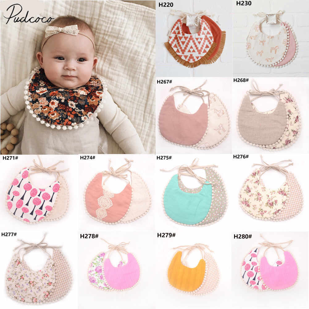 2020 Brand New Infant Baby Girl Boy Bib Kid Toddler Dinner Feeding Tassel Double-deck 100% Cotton Linen Burp Cloths Saliva towel
