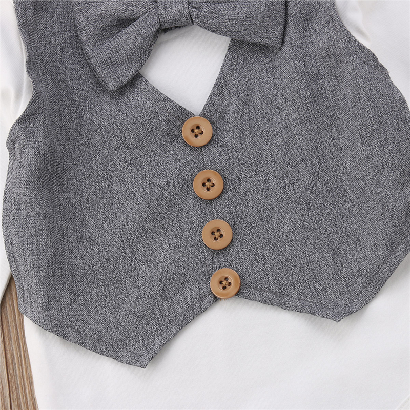 Newborn Baby Boy Little Gentleman Outfits Bow Tie Tops Romper Pants Formal Suit Costume Spring Autumn Set in Rompers from Mother Kids