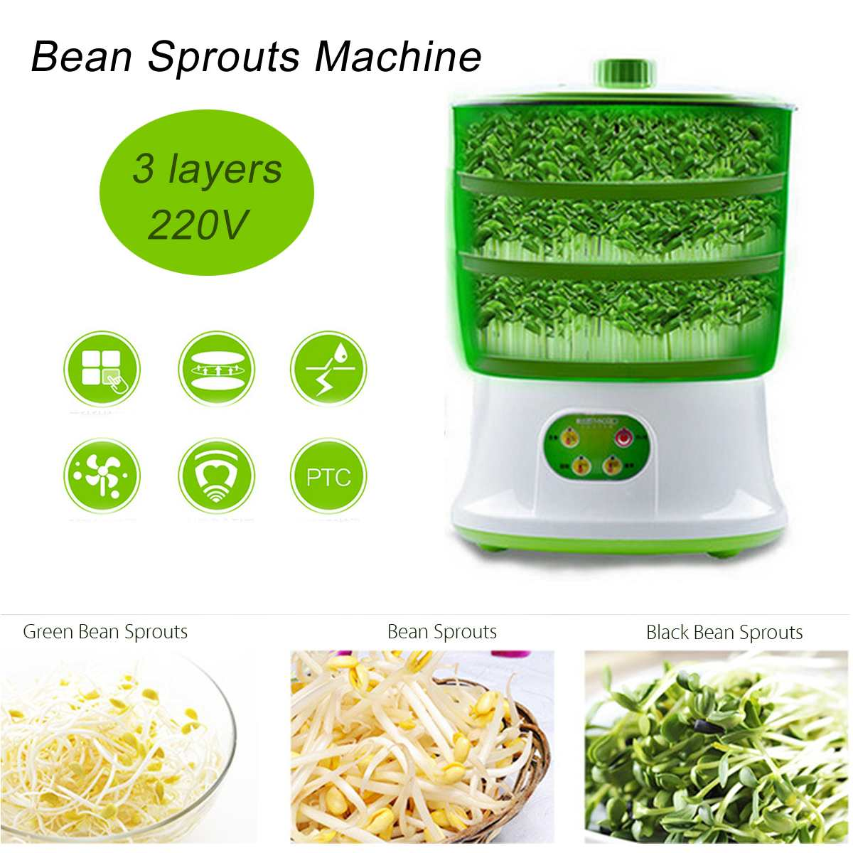 Warmtoo Intelligent 1.5L 2 Layers Bean Sproutss Machine Automatic DIY Housemade Sprout Green Seeds Growing 220V 20W 26x35cm image