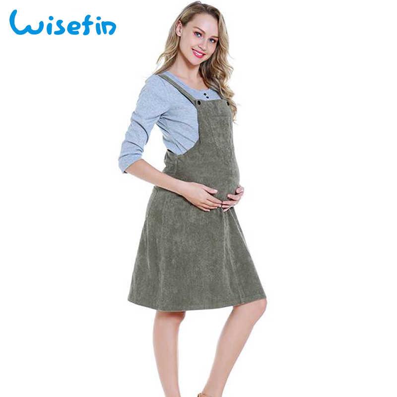 59f42299da3 Wisefin свободные платья для мам Беременность Одежда Платье для беременных  вельветовый сарафан платье комбинезон платье сарафан