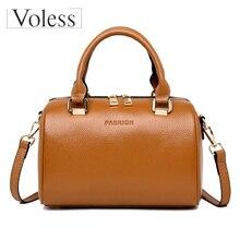 VOLESS Fashion Luxury Brand Women Handbags Quality Genuine Leather Boston Bags Shoulder Crossbody Bag Solid Design Ladies Bolsa