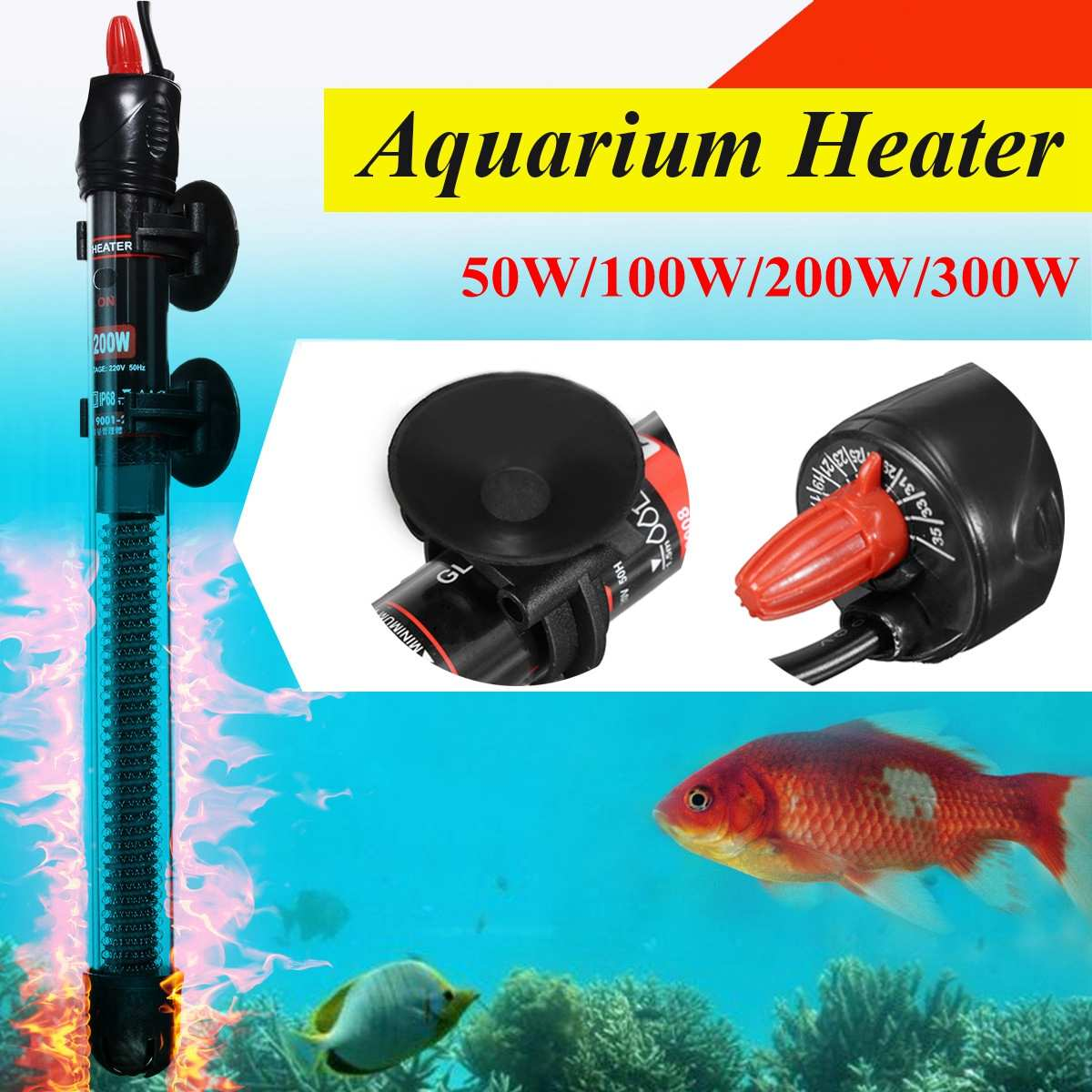 50W-300W Stainless Steel Aquarium Fish Tank Water Heater Mini Adjustable Heating Rod For Aquarium Temperature Control