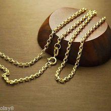 Ожерелье Au750 из натурального желтого золота 18 К, 2 мм, цепочка для кабеля 60 см, L 24 дюйма