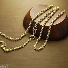 "Au750 אמיתי 18 k צהוב זהב שרשרת 2 מ""מ כבל קישור שרשרת 60 ס""מ L 24 אינץ"