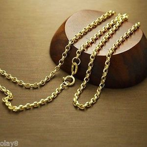 Image 1 - Au750  Real 18K Yellow Gold Necklace 2mm Cable Link Chain  60cm L 24inch
