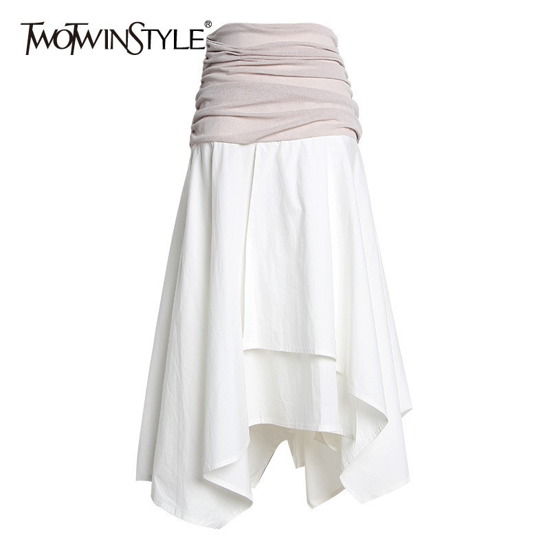 TWOTWINSTYLE Casual Hit Color Patchwork Women Skirt High Waist Ruched Irregular Midi Skirts Female Fashion 2020 Summer New