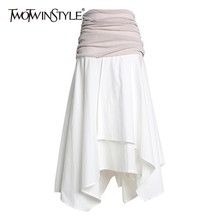 TWOTWINSTYLE Casual Hit Color Patchwork Women Skirt High Waist Ruched Irregular