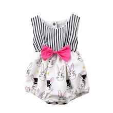 2018 Fashion Newborn Baby Girl Clothes Infant Bunny Rabbit Striped Romper Jumpsuit Outfits Clothing 0-24M цена и фото