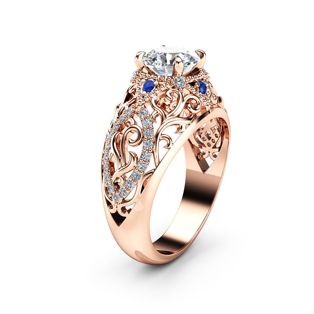 14K Rose Gold 1.5 Carats Diamond Ring For Women Flowers Wedding Sapphire Jewelry Fine Ring 14K Gold Topaz Gemstone Bizuteria