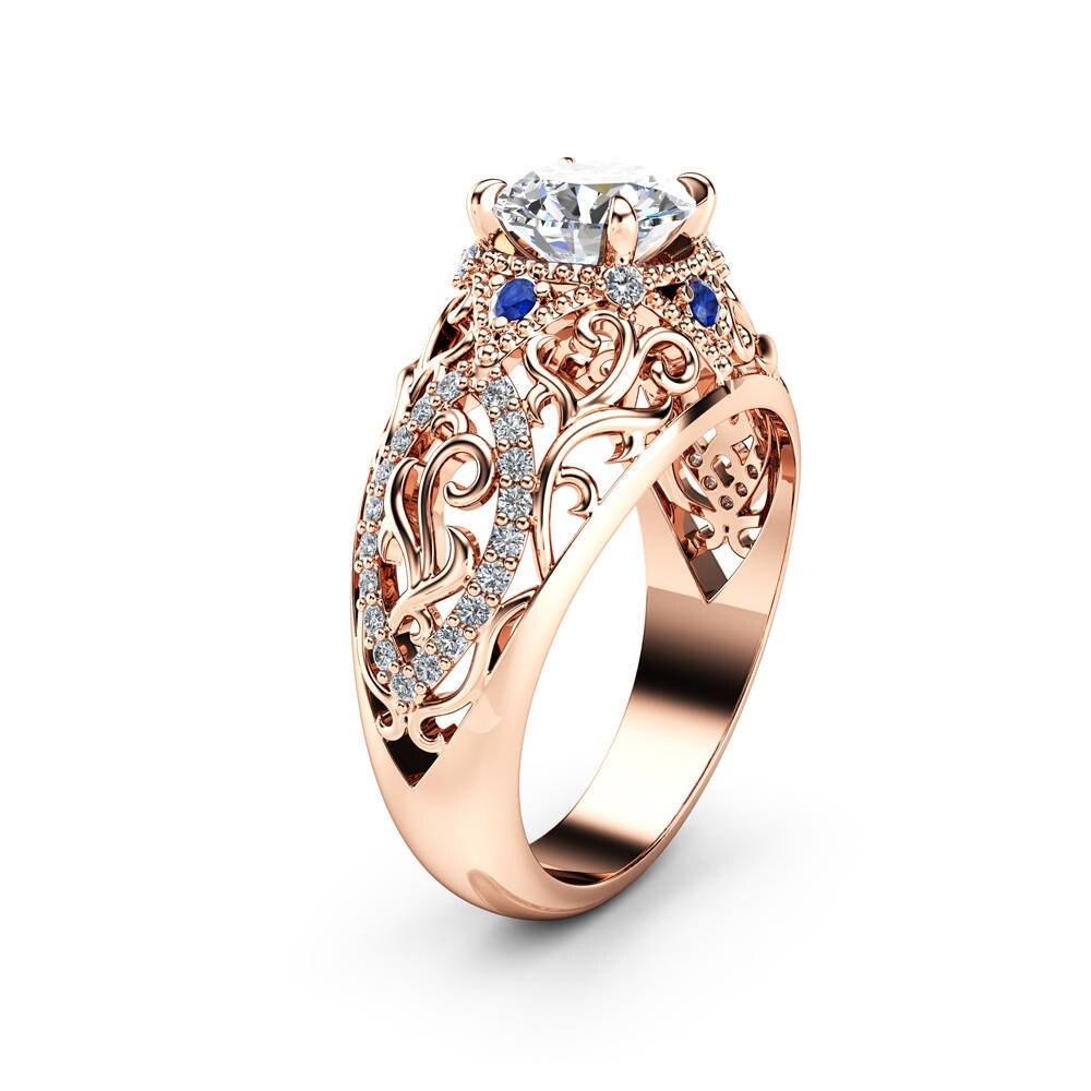 14K Rose Gold 2 carats Diamond Ring for Women Wedding diamond Jewelry Fine Ring 14K gold topaz Gemstone Bizuteria jewelry ring