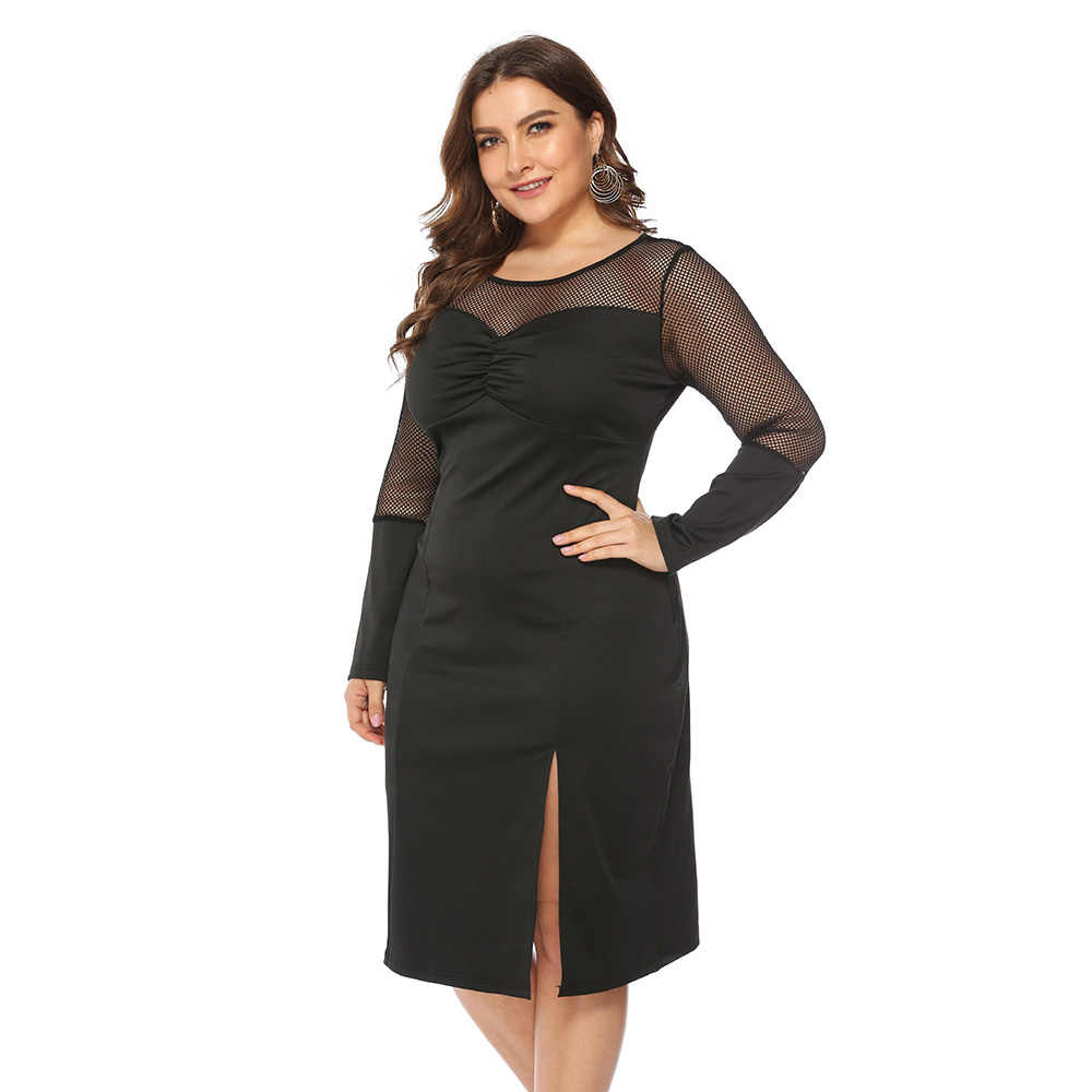 Wipalo Plus Size 5XL Mesh Perspective Slit Long Sleeve Dress Women Formal  Dress Knee Length Solid 3dde76e62272