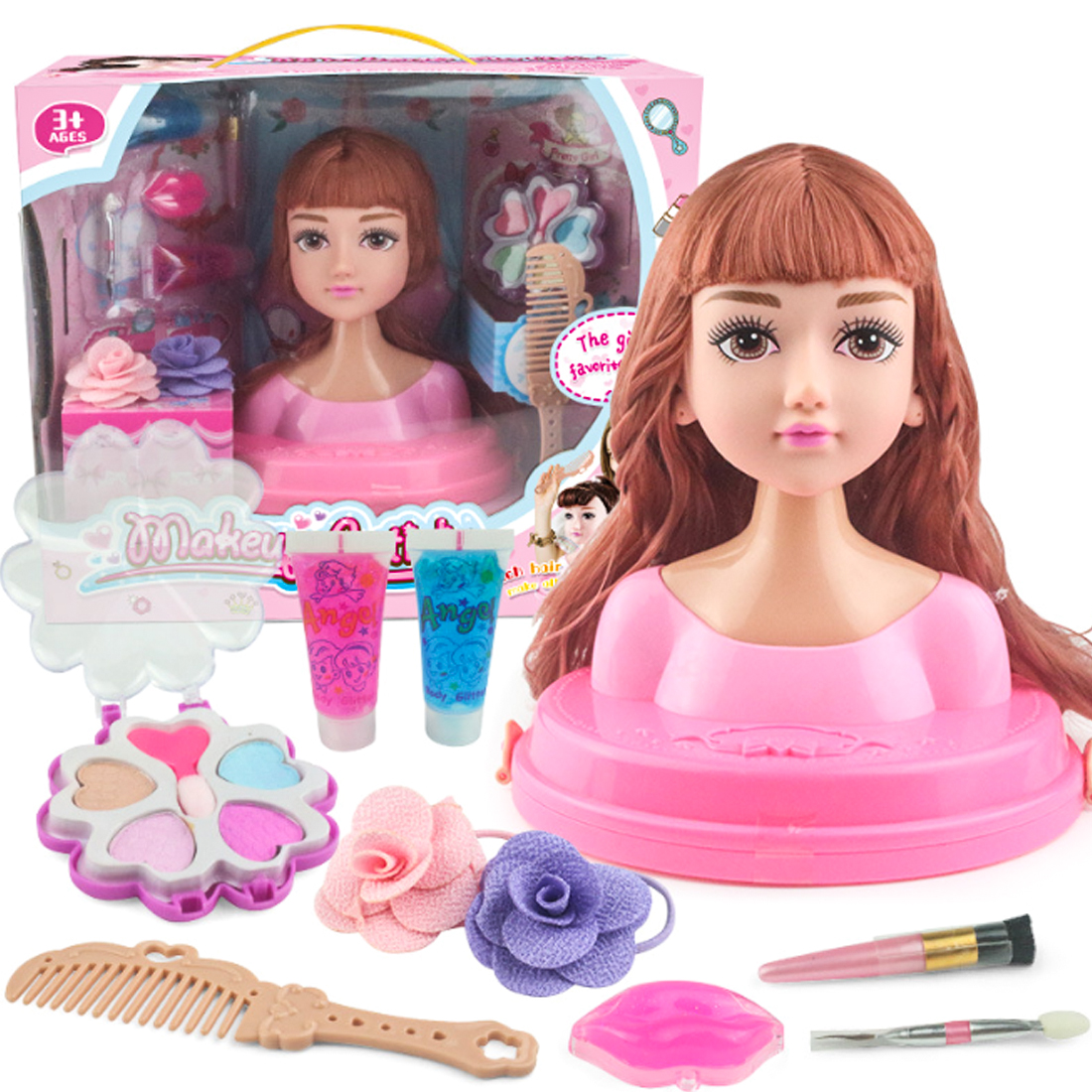 Children Head Model Half Body Doll Toy Makeup Hairstyle Beauty Simulation Plastic Girls Gift Toy - Random Color