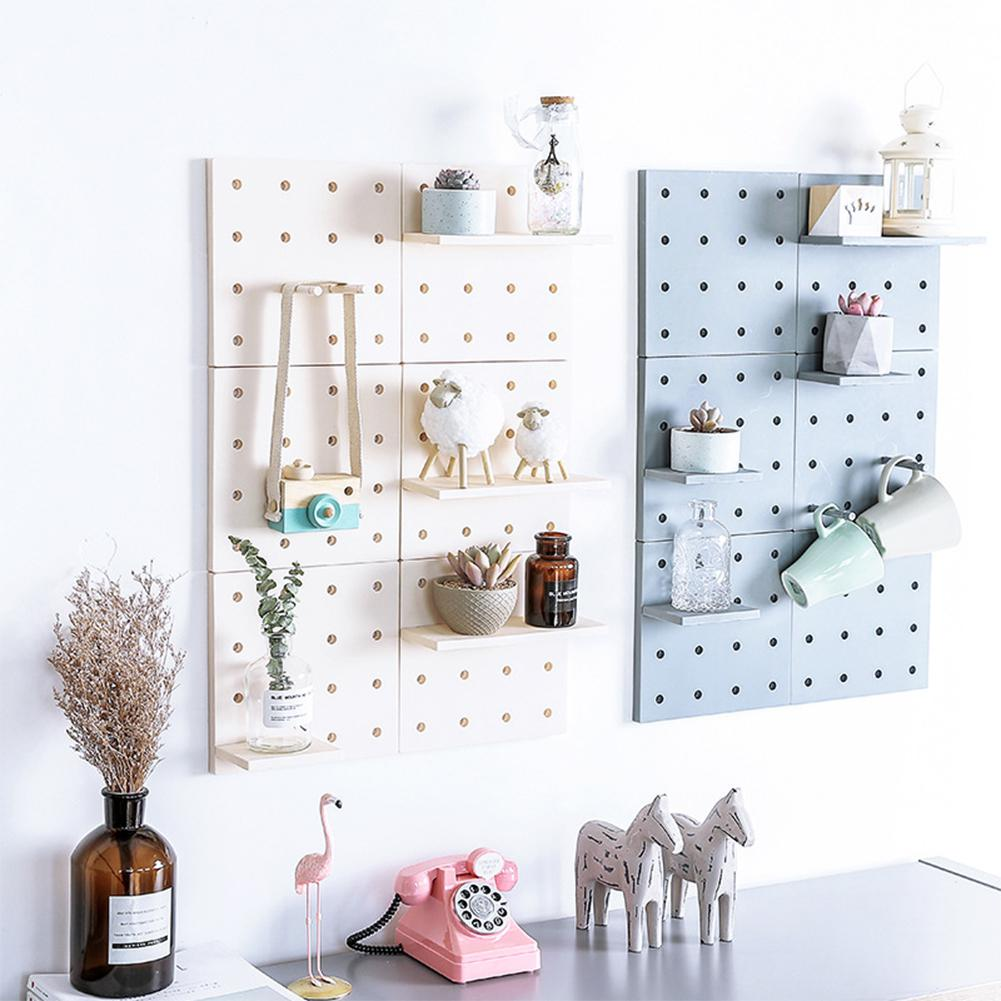 Ins Stylish Plastic Peg Board Wall-mounted Storage Shelf Holder Kitchen Living Room Bathroom Decoration Home Wall Organizer Rack