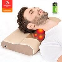 Cordless Massage Pillow massageador Shiatsu Neck Shoulder Body Massager Electric Infrared Heated Kneading Massagem