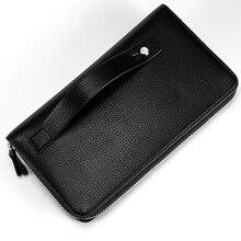 цены на Litchi Pattern Long Wallet Single Zipper Clutch Bag Men's Business Pu Leather Large Capacity Multi-Card Hand Holding Wallet  в интернет-магазинах