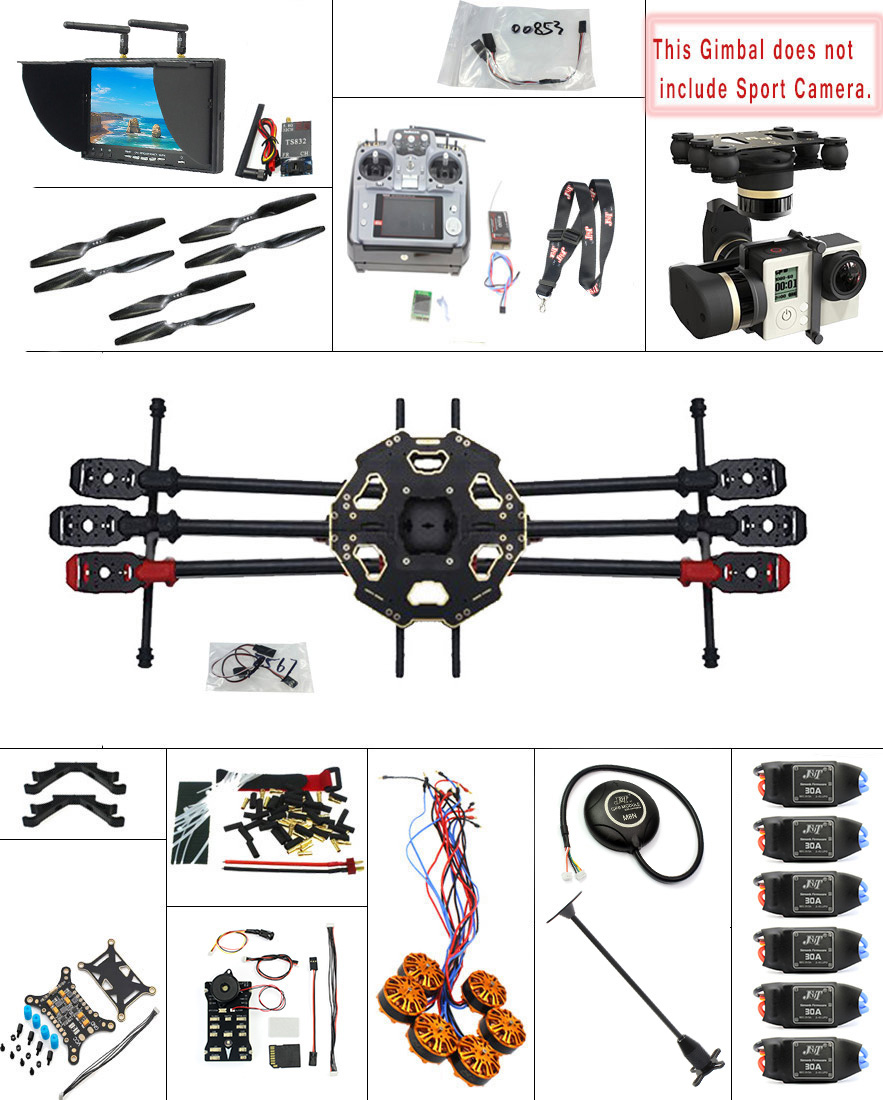 JMT 2.4G 9CH DIY RC PX4 GPS 5.8G FPV 680PRO Hexacopter Unassembled 6 Axle Kit ARF RC Drone MINI3D Pro Gimbal No Battery F07807 I