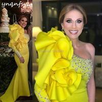 YNQNFS M172 Crystal One Shoulder Long Sleeve Evening Prom Dresses Wedding Party Yellow Mother of the Bride Groom Dresses 2019