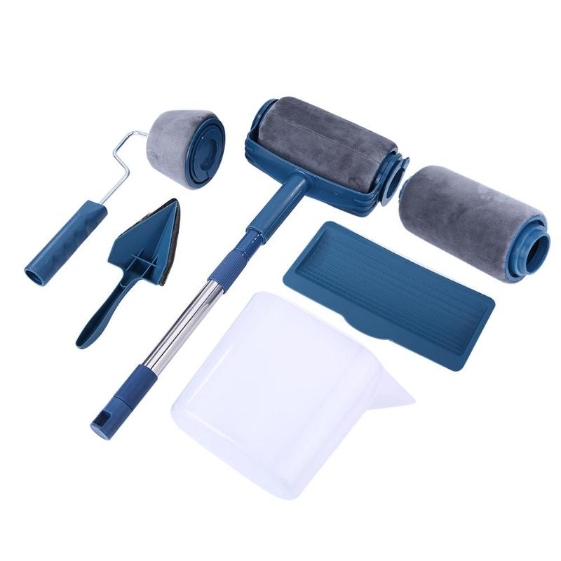 6/7pcs Paint Brush Handle Tool Runner Roller Pro Rollers Wall Painting Kit Walls Set Edger Room Home Garden + Extension Pole Tub