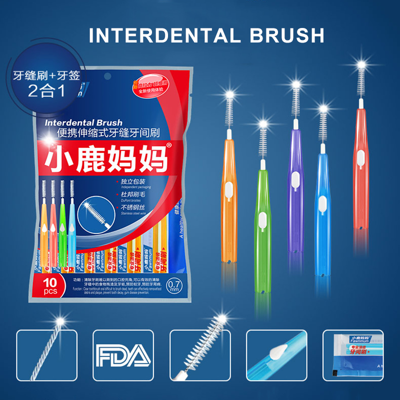 10pc Adults Interdental Brush Clean Between Teeth Floss Toothpick Push-pull Orthodontic Dental Cleaning Brushes Oral Care Tool