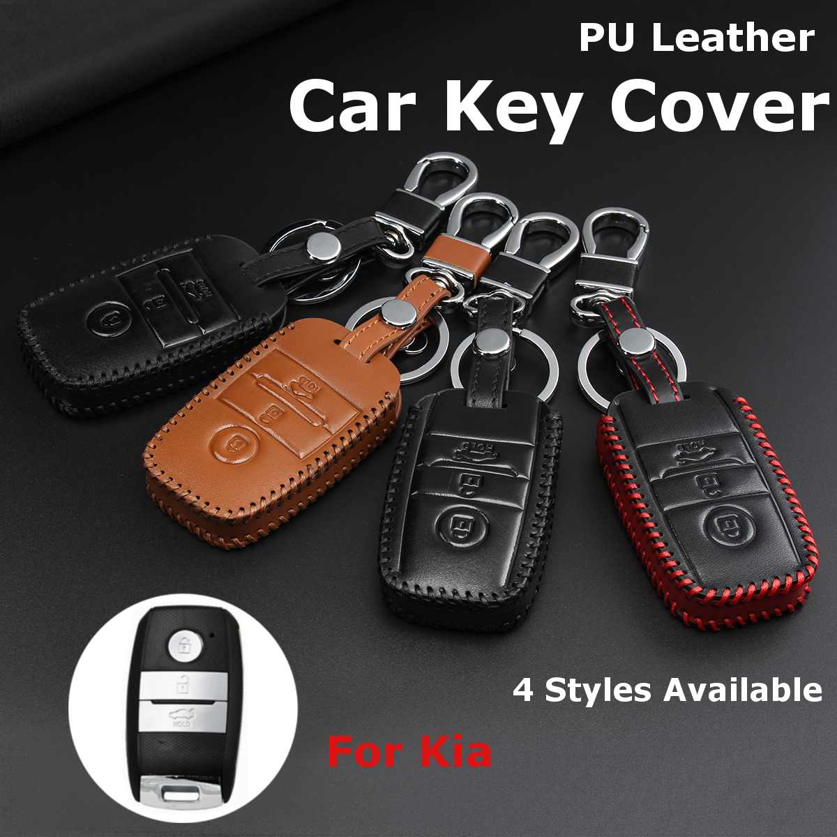 3 Button Leather Car Remote Key Case Cover Protector Holder For Kia KX3 KX5 K3S RIO Ceed Cerato Optima K5 Sportage Sorento