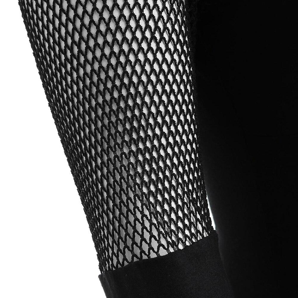 Blusas Club Larga Negro Rejilla Mujer Tops Tamaño Tee Panel Túnica Manga De Black Plus Kenancy Hueco Blusa Sexy Camisas Malla Primavera ZYTYwFqg