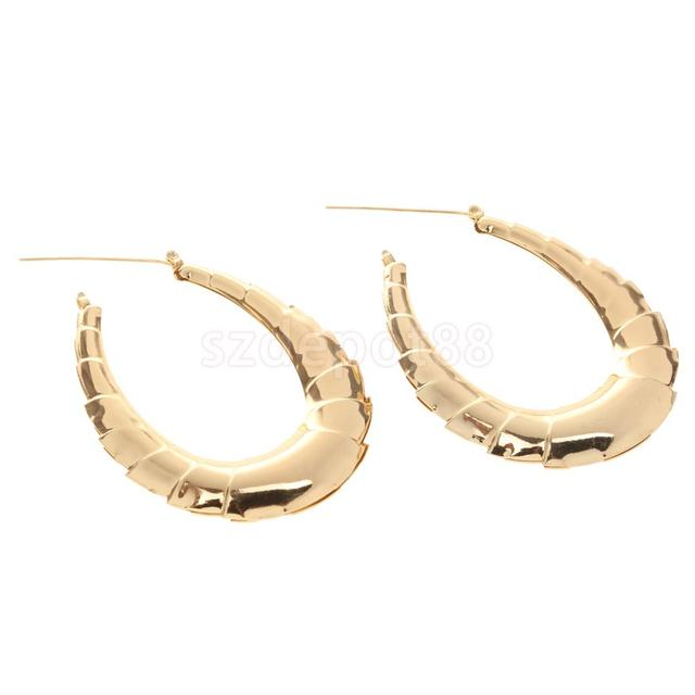 9a8bc259f 1 Pair Large Gold Hoop Earrings Classic Old School Bamboo Earrings For Women