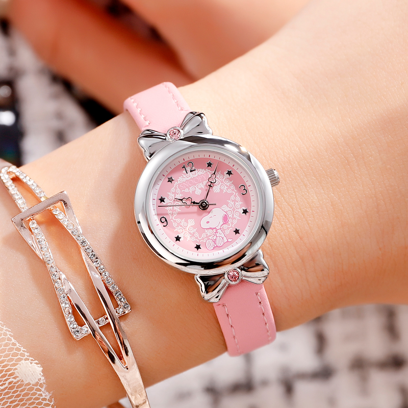 Snoopy Kids Watch Children Watch Casual Fashion Cute Quartz Wristwatches Girls Leather Watchband Water Resisitant Clock