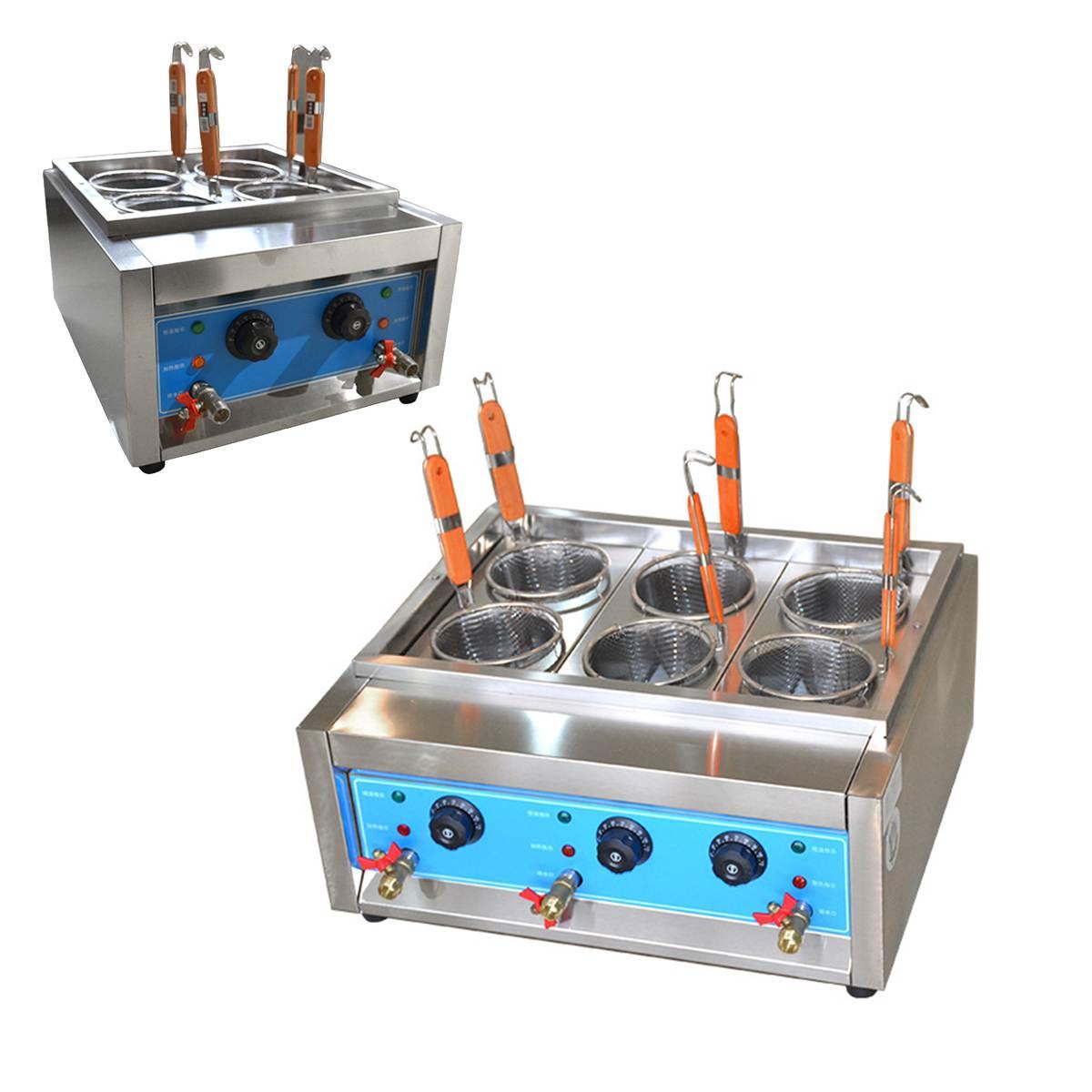 4/6 trous en acier inoxydable pâtes alimentaire cuiseur 220 V Table multifonctionnelle électrique nouilles cuisson poêle chauffage chaudière Machine
