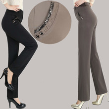 2019 Spring Autumn Middle Aged Women Slim Casual High Waist Straight Pants Female Trousers Pantalon Femme