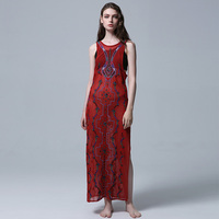 Summer new tour exotic style Bohemian long dress with split ends long dress Bohemian hippie beach dress embroidered gown