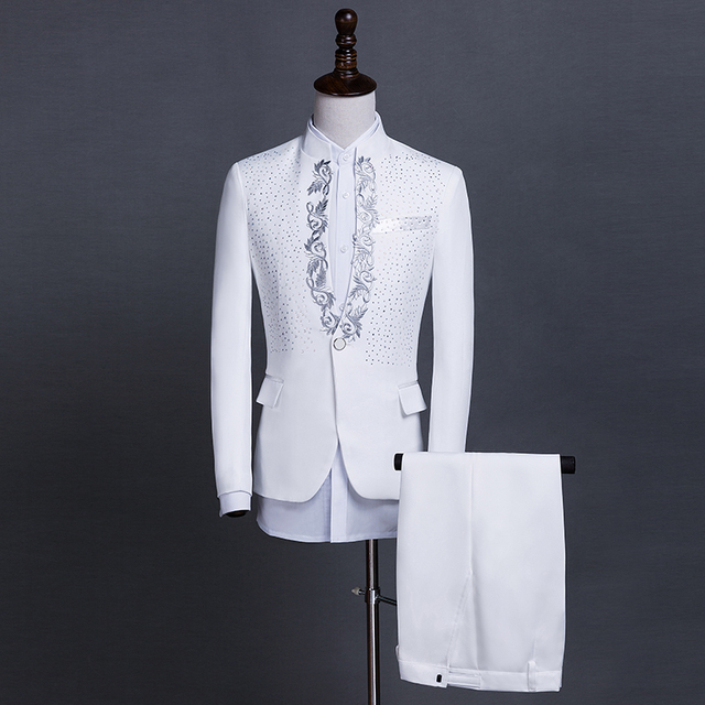 Costumes male adult stand collar sequin singer host costume stage chorus men's dress fashion print suit