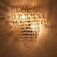 클래식 크리스탈 샹들리에 벽 빛 골드 결정 성 벽 sconce 램프 LED 로비 거실 침대 옆 유리 크리스탈 벽 램프