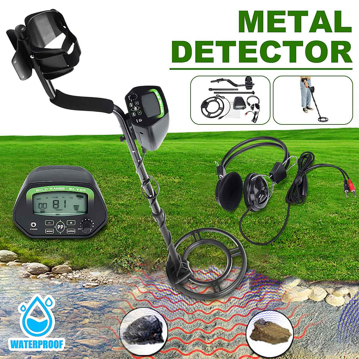 LCD Screen Metal Detector Searching Deep Sensitive Gold Digger Treasure Hunting Waterproof Undergrounds Metal Detectors GC1037LCD Screen Metal Detector Searching Deep Sensitive Gold Digger Treasure Hunting Waterproof Undergrounds Metal Detectors GC1037