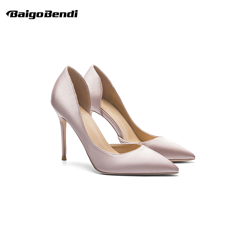 Small Size 33 34 Elegant Silk Ladies Hight Heel Pointed Toe OL Office Thin Shoes And Satin 40 41 Woman