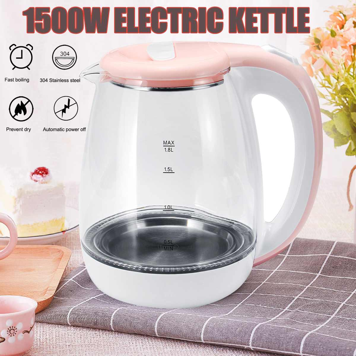 1.8L 304 Stainless Steel Automatically Power Off Electric Kettles Household Kitchen Appliances Water Heating Boiler Pot1.8L 304 Stainless Steel Automatically Power Off Electric Kettles Household Kitchen Appliances Water Heating Boiler Pot