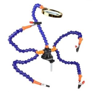 Image 2 - Manos de ayuda herramienta de soldadura de tercera mano 6 brazos flexibles Estación de soldadura de cinco brazos con vidrio de aumento, abanico para RC Dr