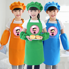 купить Children's custom apron painting clean and dry sleeve hat kids apron separated can print logo дешево