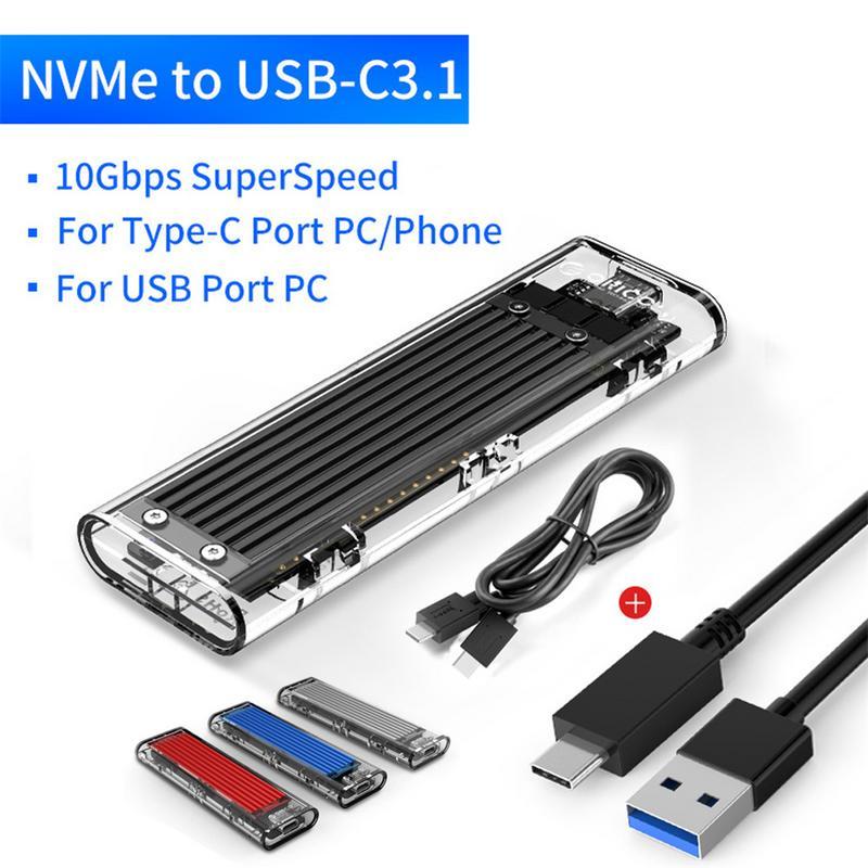 Boîtier disque dur Orico Mini NVME M.2 boîtier SSD type-c boîtier jusqu'à 10 Gbps GEN2 Supprot 2 to avec Kits de câbles - 6